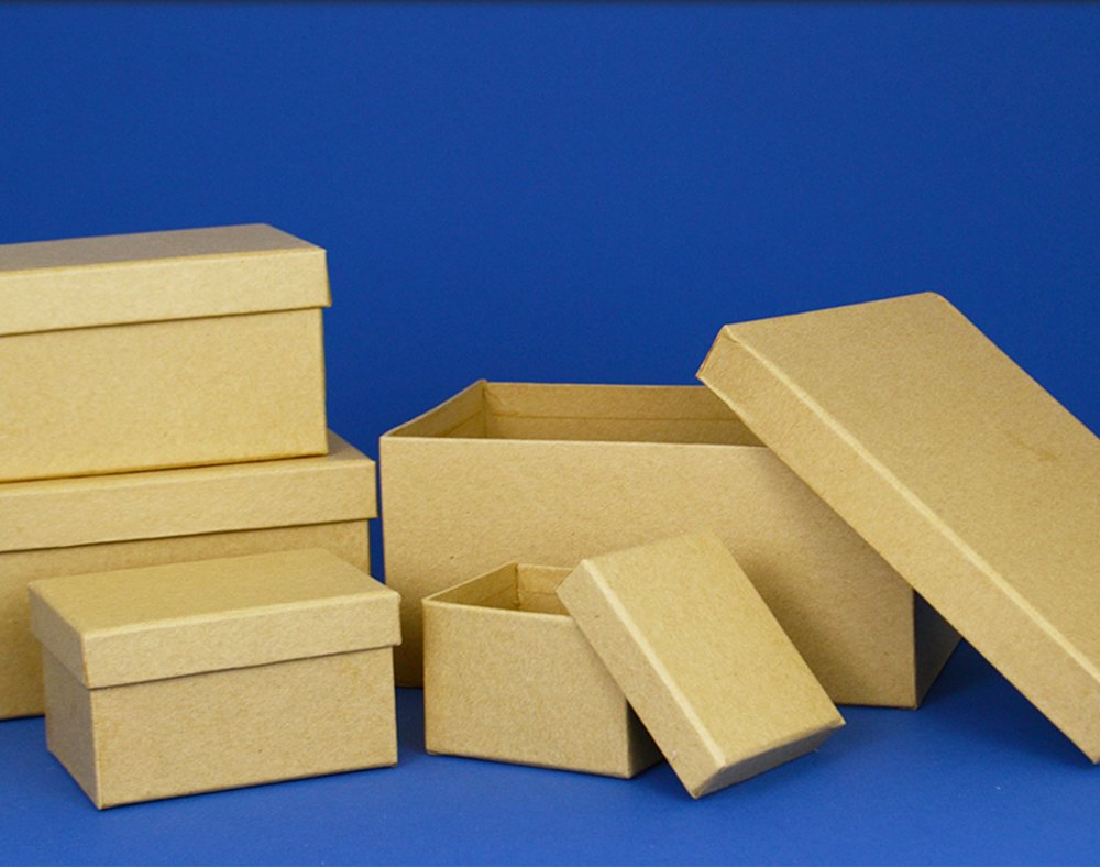 Paper mache square stacking boxes set of 2 7 and 5