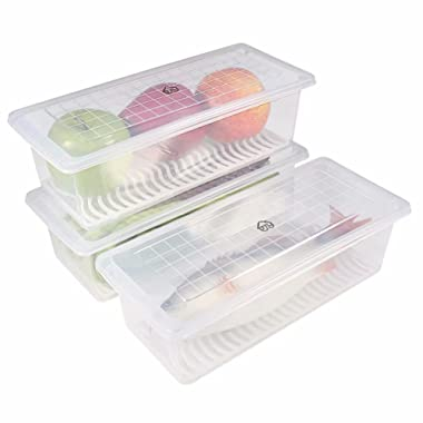 Food Storage Container, (Pack of 3) 77L Plastic Food Storage Container with Removable Drain Plate and Lid, Stackable Freezer Storage Containers Keep Fresh for Storing Fish, Meat, Vegetables and More