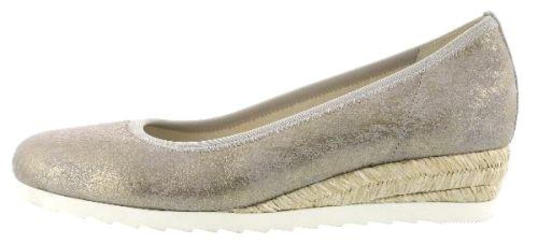 Gabor Epworth Womens Modern Ballerina Shoes B078N88RYH 7 F (W) UK/ 9 C/D (W) US|Silver Dot Jute