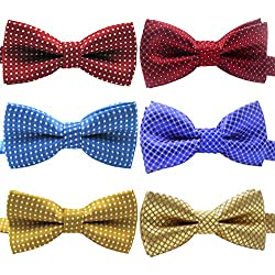 """YOY Handcrafted Adorable Pet Bow Ties - 6-pack Adjustable Neck Tie 11.4""""-18.5"""" Polka Dots Bowties Dog Collar Neckties Kitty Puppy Grooming Accessories for Doggy Cat, 6 Colors"""