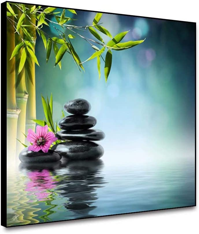 """Canessioa Spa Canvas Wall Art Spa Zen Framed Black Stone Green Bamboo Purple Orchid Frangipani Flowers Water 18""""x12"""" Oil Painting for Bedroom Bathroom Office Dining Room Yoga Studio Spa Wall Decor"""