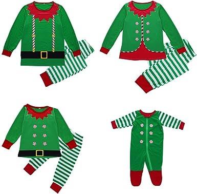 Fossen Kids Pijamas Familiares Navidad a Cuadros, Pijama Navidad Familia de Manga Larga Conjunto de Mujer Hombre Bebe, Traje de Navidad Elfo Invierno