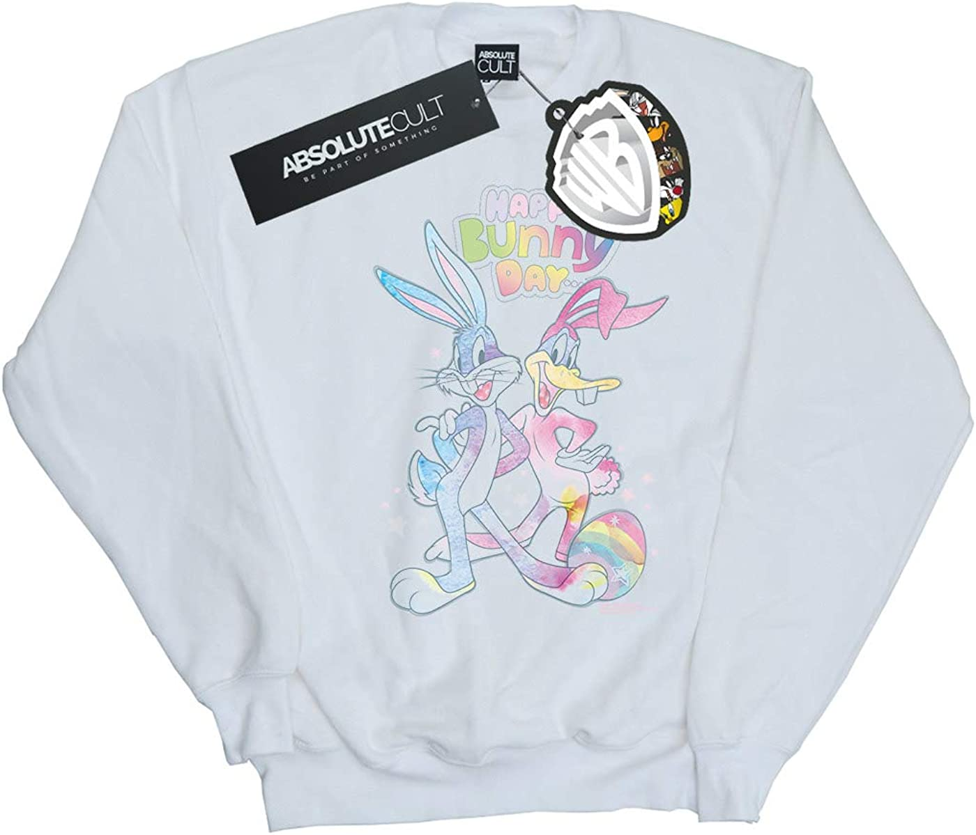 Absolute Cult Looney Tunes Girls Bugs and Daffy Happy Bunny Day Sweatshirt