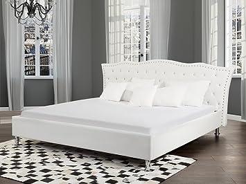 Letti Di Design Con Contenitore : Letto matrimoniale in pelle bianca con contenitore design moderno