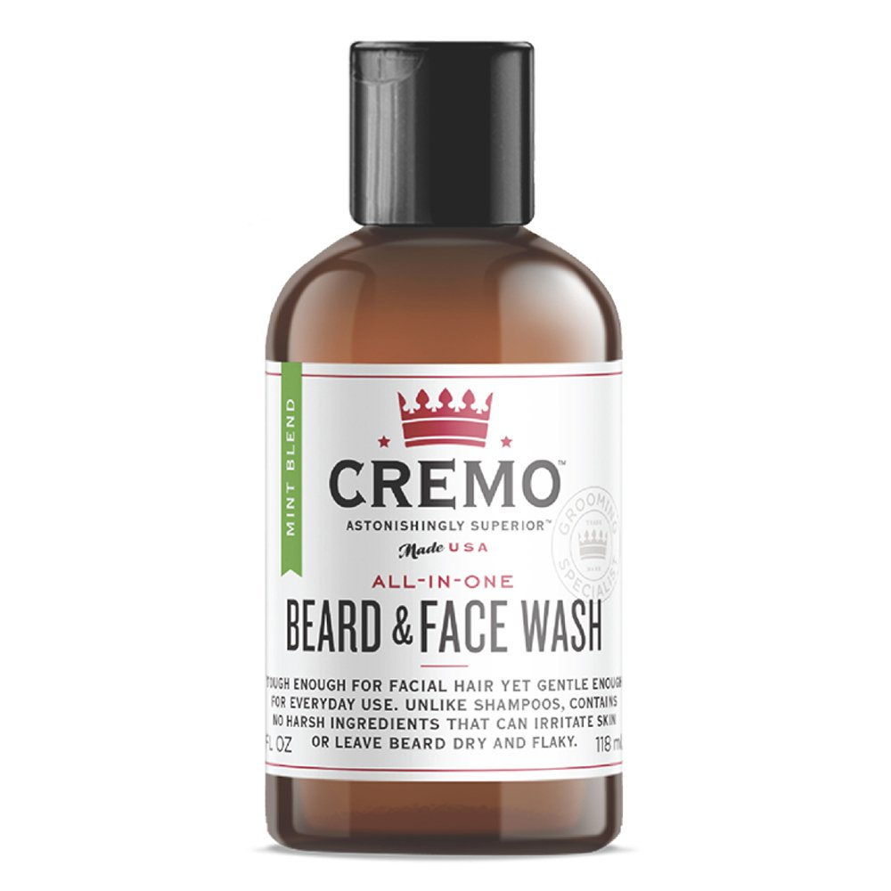 Cremo Beard and Face Wash, Mint Blend, Cleans And Conditions Facial Hair Without Irritating Skin Underneath,4 Ounce