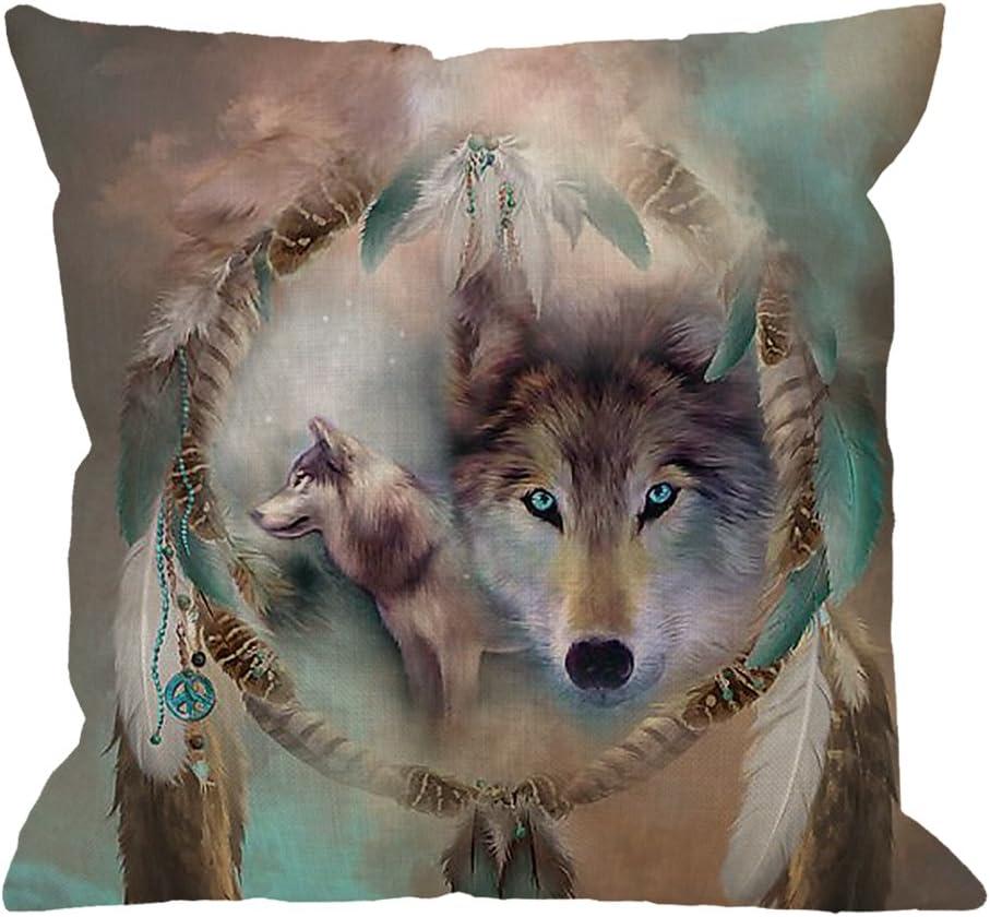 Wolf Print Pillow Cases Sofa Waist Throw Rectangular Cushion Cover Home Decor