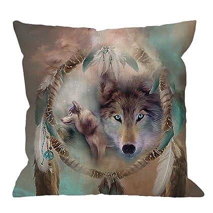 54547b442b048 HGOD DESIGNS Wolf Pillow Case,Best Cool Wolf Dream Catcher Cotton Linen  Cushion Cover Square