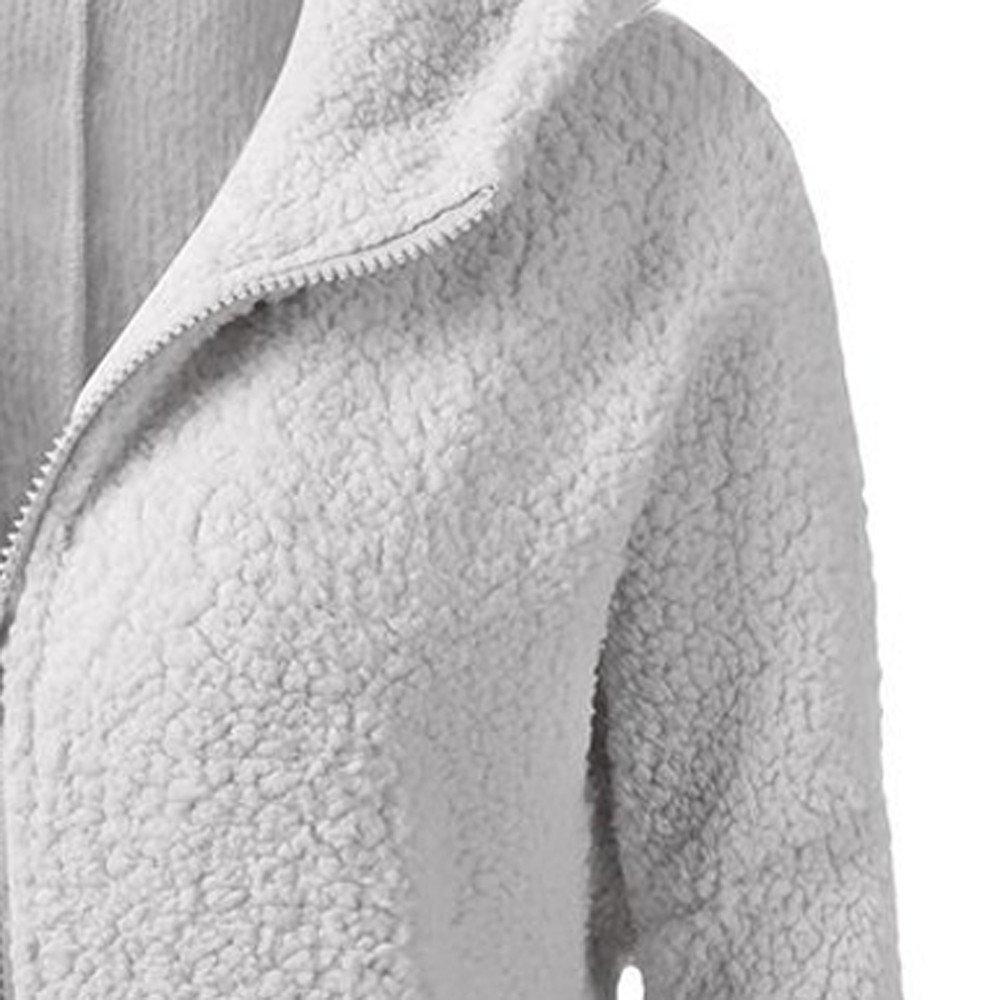iYYVV Women Hooded Sweater Coat Winter Warm Wool Zipper Coat Cotton Coat Outwear