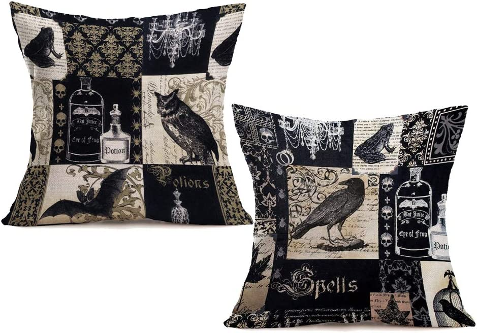 "Royalours 2 Packs Pillow Covers Cotton Linen Halloween Theme Decorative Throw Pillow Case Cushion Covers 18"" x 18"" Home Sofa Decor Animal Bat Crow Pillowcase (Halloween#2)"
