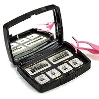 Walmeck 6pcs Mode Cils Magnétiques Avec 2 Aimants à la Main 3D Naturel Faux Cils Avec Brucelles et Miroir de Boîte Cadeau (Style 5)