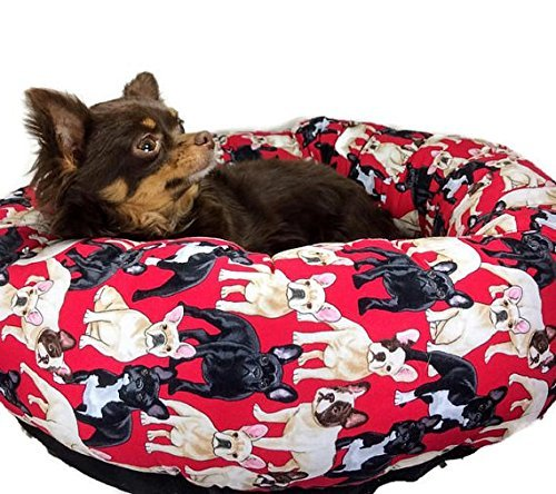 Red French Bulldog Frenchie Round Pet Bed