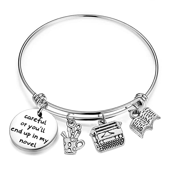 Gzrlyf Writer Bracelet Author Bracelet Writer Gift Novelist Gift Careful Or Youll End Up in My Novel Jewelry Writing Gift Author Jewelry (Writer Bracelet)