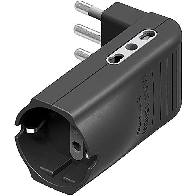 bticino S3605GE Adaptador de Enchufe el/éctrico Negro 250 V, 10 A, Negro, Male Connector//Female Connector Adaptador para Enchufe