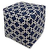 Majestic Home Goods Links Indoor/Outdoor Bean Bag Ottoman Pouf Cube, 17'' x 17'' x 17'' (Navy Blue)