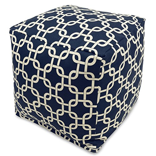 Majestic Home Goods Links Indoor/Outdoor Bean Bag Ottoman Pouf Cube, 17