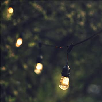 Amazon hyperikon outdoor string lights 48ft patio lights hyperikon outdoor string lights 48ft patio lights with 15 dropped sockets 15 x 11w aloadofball Images