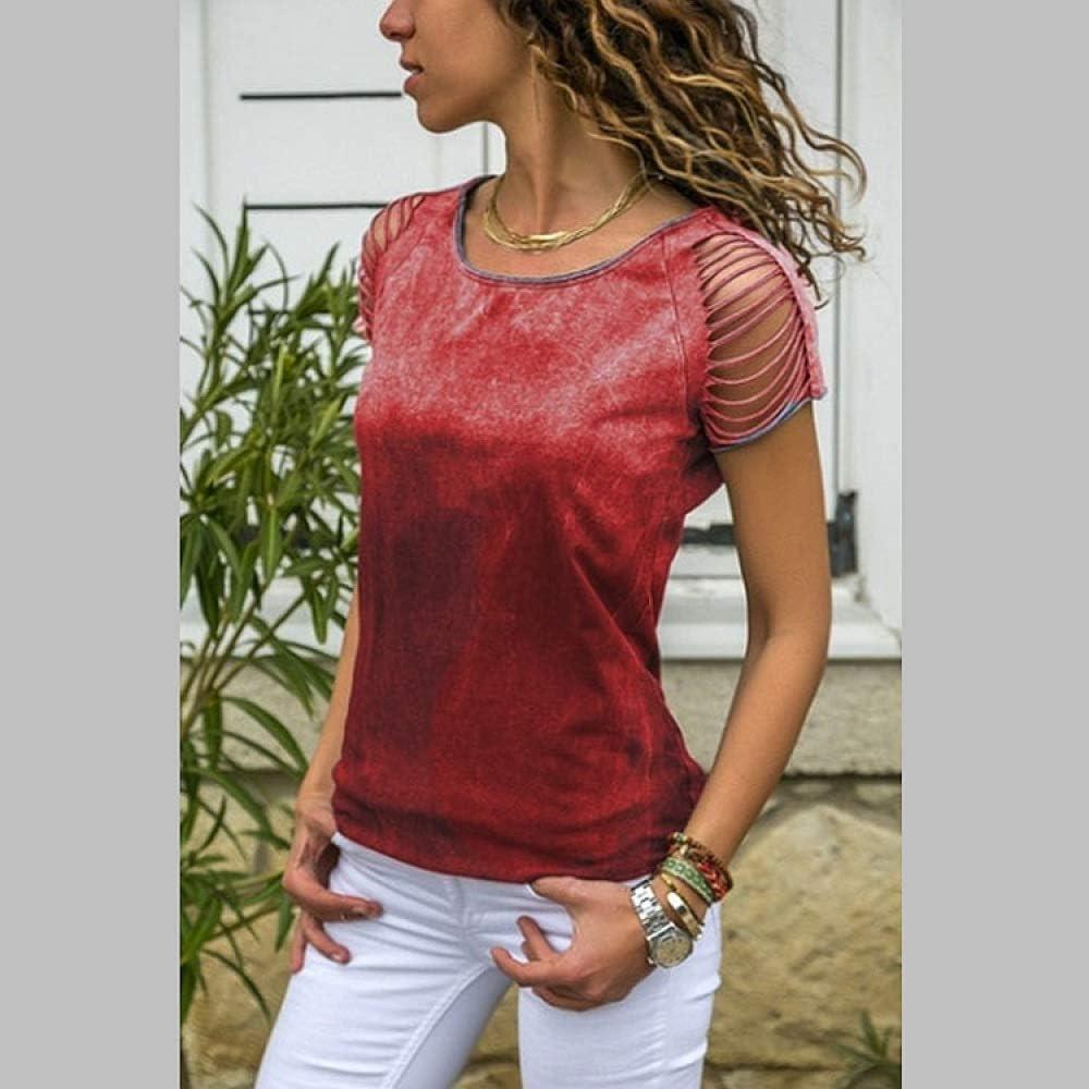 ljradj banxiu Camiseta de Manga Corta de Seda teñida de Verano Europea y Americana de Mujer roja 2XL: Amazon.es: Hogar
