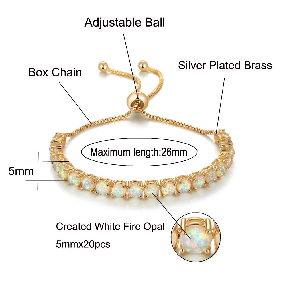 CiNily Created White Pink Fire Opal Yellow Gold Plated Women Jewelry Adjustable Bracelet 4 1//4-10 5//8