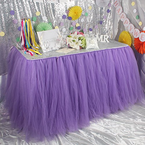 Elegant OurWarm Handmade Tutu Table Skirt Tulle Table Cloth For Girl Princess Party  Wedding Birthday Baby Shower Slumber Party Decoration, Lavender