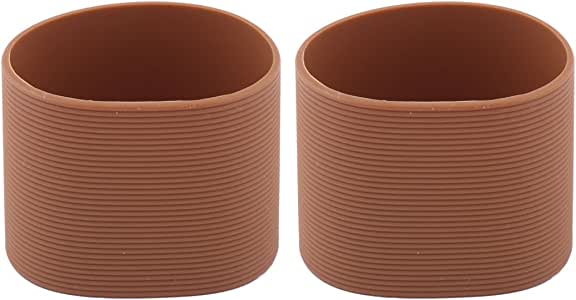 uxcell Silicone Heat Resistant Nonslip Bottle Cup Mug Cover Sleeve 2pcs Coffee Color