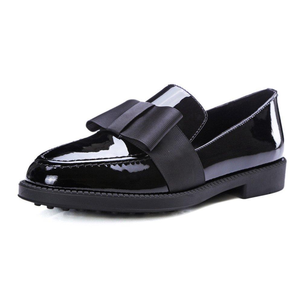 QXH Damenschuhe Sandalen Sandalen Damenschuhe Flachen Maul Runder Kopf Wohnungen Leder schwarz c8b922