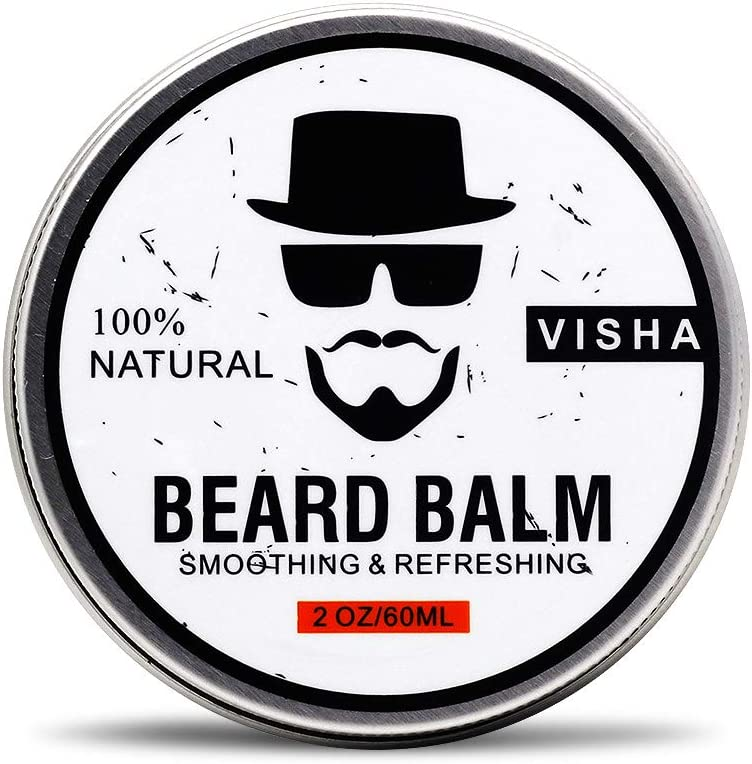 Beard Balm,Duvina Beard Conditioner Organic Natural Moustache Cream Strengthens & Softens Beards & Mustaches -Leave in Conditioner Wax for Men Beard Care (White) 60 ml