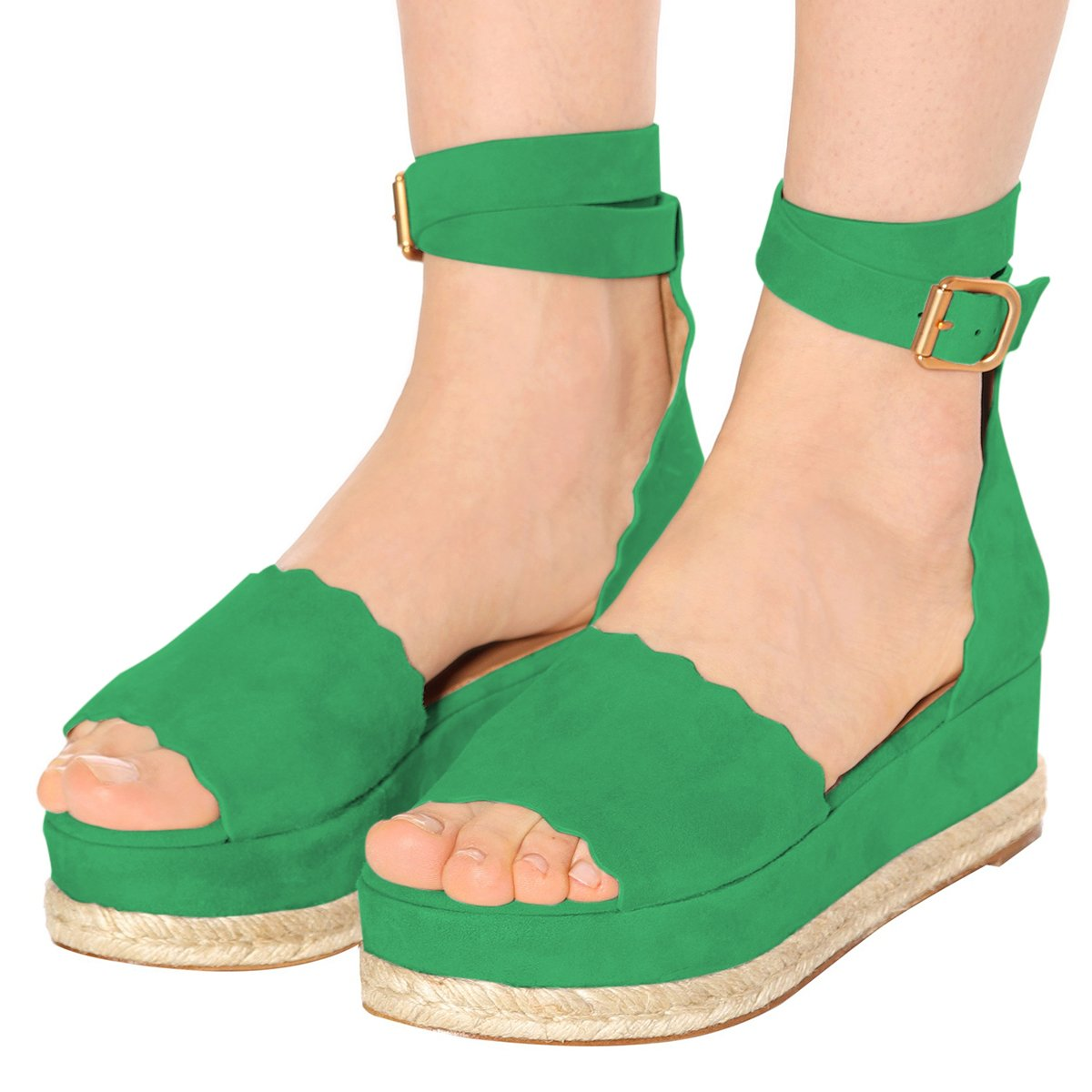 YDN Women Espadrille Peep Toe Ankle Straps Wedge Sandals Low Heels Platform Shoes with Buckle B07DCP7NPB 5 M US Green
