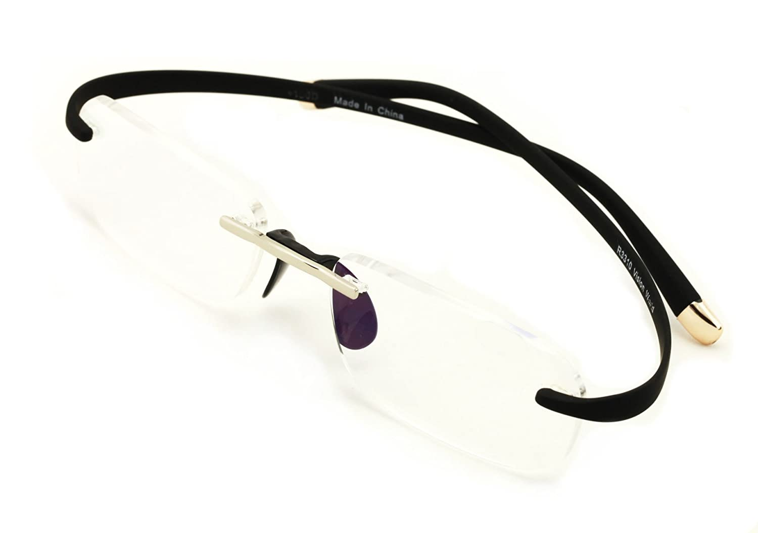 67e6b82c2283a Amazon.com  V.W.E. Rimless Lightweight Rectangle Memory Flex Frame Clear  Lens glasses RX Optical EyeGlasses (Black