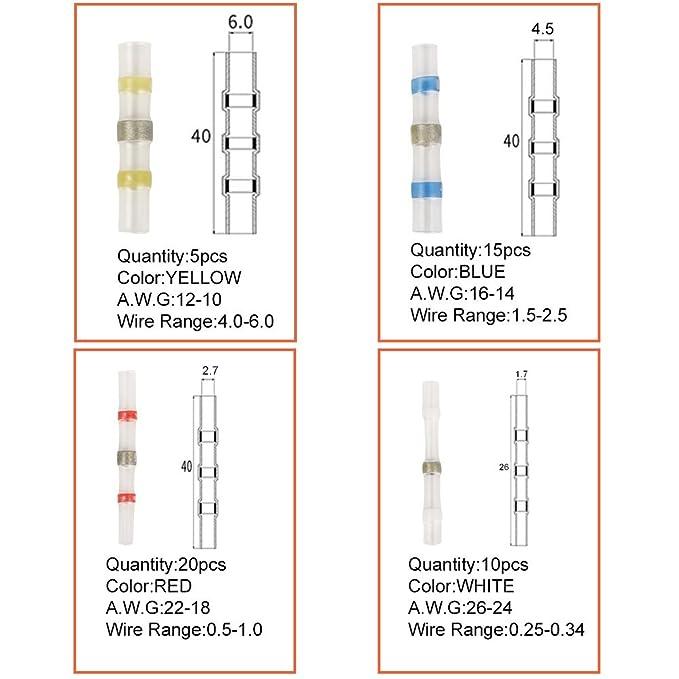 20/rojo 5/amarillo inal/ámbrico cable conector Eagles 50pcs Terminales el/éctricos soldar corrugado thermor/étractable terminales cobre el/éctrico 10/Color blanco 15/azul