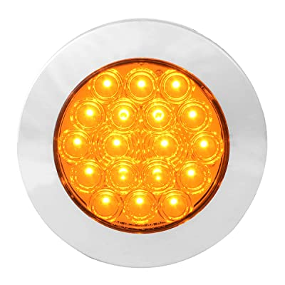"GG Grand General 75870 Amber/Amber LED Light (4"" Fleet 18 Flange Mount with Bezel, 3 Prong): Automotive"