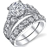 Solid Sterling Silver 925 Engagement Ring Set Bridal Rings with High Quality Cubic Zirconia Size 10