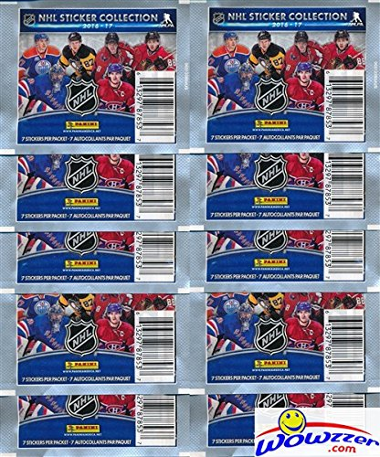 Nhl Sticker (2016/2017 Panini NHL Hockey Stickers Collection with TEN(10) Factory Sealed Sticker Packs & 70 Brand New MINT Glossy Stickers! Look for Stickers of all your Favorite NHL Superstars & Rookies!)