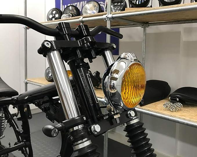 12V 35W Moto Phare Classique Personnalis/é Noir avec Jaune Lentilles pour Bouchon Chopper Scrambler Cafe Racer