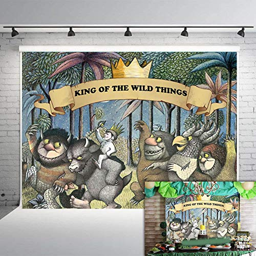 Fanghui 7x5FT Where The Wild Things are Theme Party Backdrop King of The Wild Things Boys Birthday Party Banner Supplies Baby Shower Dress Up Party Photo Background Booth Props]()