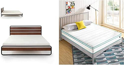ZINUS Therese Metal and Wood Platform Bed Frame