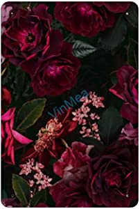 Vintage Metal Sign Midnight Summer Botanical Roses Metal Tin Sign Wall Art for Home Decor Metal Signs 8