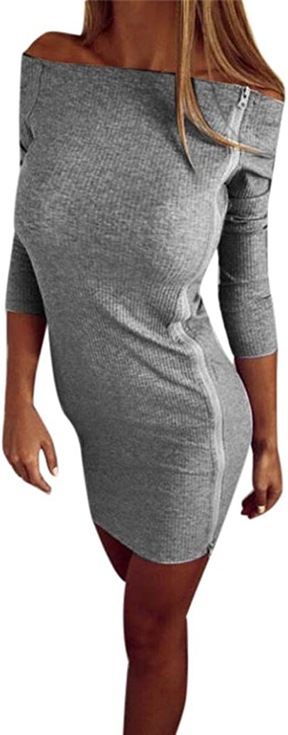 Kolylong/® Kleid Damen Frauen reizvolles tr/ägerlosen Rei/ßverschluss unregelm/ä/ßige Lange /Ärmel Kleid Party Kleid Cocktail Minikleid Sportkleid Strandkleid Bluse