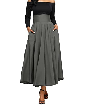 e1daaf2c1c8 Lalagen Women s Plus Size Vintage High Waist Pleated A Line Swing Long Skirt  Gray L