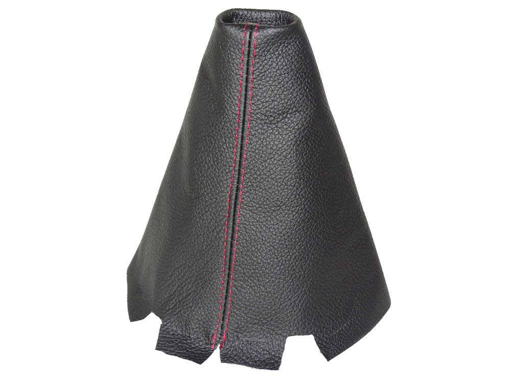For MAZDA 3 2003-09 SHIFT BOOT BLACK GENUINE LEATHER RED STITCHING
