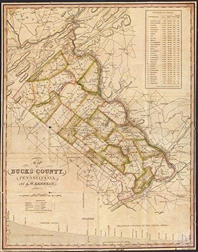 1831 map of Bucks County, Pennsylvania Size 18x24 - Ready to Frame  Bucks County Bucks County Pa Charts Diagrams Etc Lehigh Canal Lehigh Canal Pa Pennsylvania Pennsylvania Canal Pa 