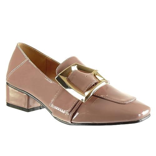 Angkorly - Zapatillas de Moda Mocasines Slip-on Mujer Patentes Hebilla Tanga Talón Tacón Ancho Alto 4 CM: Amazon.es: Zapatos y complementos