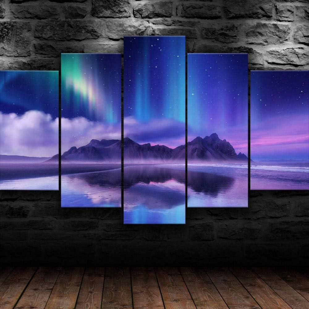 45Tdfc 5 Piezas Impresiones sobre Lienzo Modular DecoracióN PóSter Cuadro Naturaleza púrpura de la Isla de Aurora Colorida,Talla:150 * 80Cm HabitacióN Sala HogareñA
