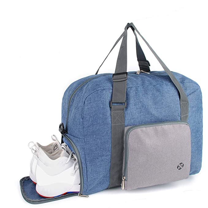 6d74f48ebec Wandf Foldable Travel Duffel Bag Luggage Sports Gym Water Resistant Nylon  (Blue & Grey)