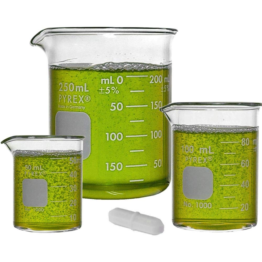 Corning PYREX #1000 Griffin Low Form, Glass Beaker Set with Magnetic Stir Bar - 3 Sizes - 50ml, 100ml, 250ml