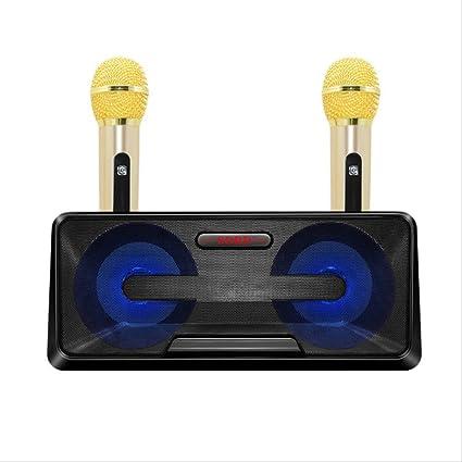 RRYM Micrófonos Micrófono Inalámbrico Hogar Ktv Al Aire Libre Portátil Hifi Micrófono Altavoz Teléfono Móvil Bluetooth Audio Cara Ok Máquina Negro: Amazon.es: Instrumentos musicales