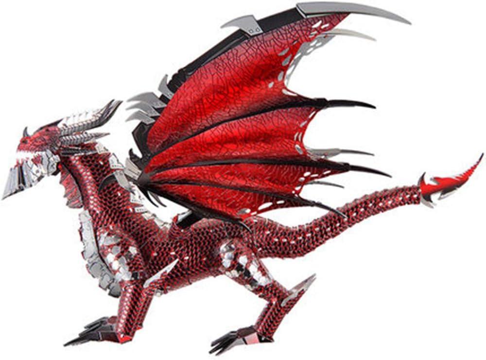 MQKZ 3D Rompecabezas Tridimensional de Metal Que ensambla el Modelo de Juego del Dragón Negro DIY Juguetes manuales Hechos a Mano difíciles / Plata + Herramienta de tamaño A / One: Amazon.es: