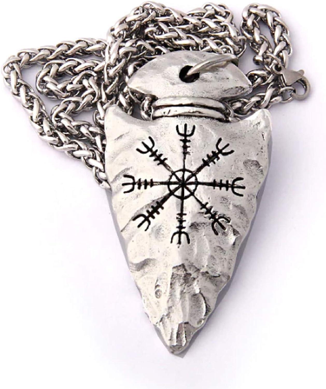 Enchanted Apparel Colgante de runa vikinga con punta de flecha Aegishjalmr