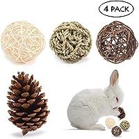 Fun Pet Balls, Womdee Natural Handmade Safe Durable Fun Pet Chew Toys for Bunny Rabbits Guinea Pigs Gerbils, 4 Pack