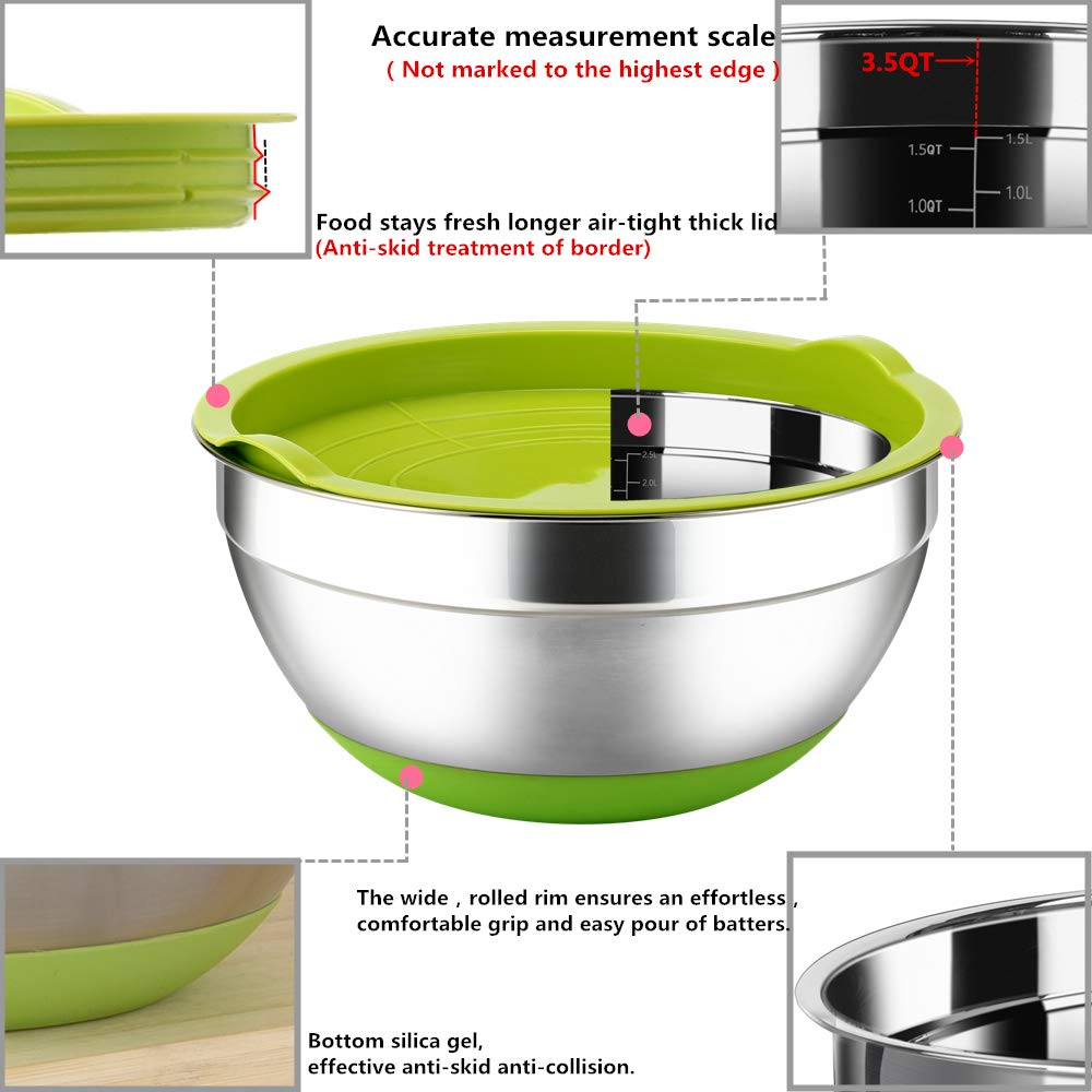Stainless Steel Mixing Bowls with Lids (Set of 3), Non Slip Colorful Silicone Bottom Nesting Storage Bowls by Regiller, Polished Mirror Finish For Healthy Meal Mixing and Prepping 2.5-3.5-4.2QT by REGILLER (Image #3)