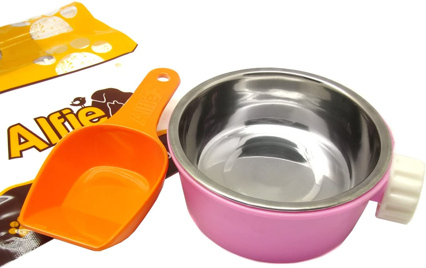 Alfie Pet - Flynn Food Water Bowl with Food Scoop Set for Mouse, Chinchilla, Rat, Gerbil and Dwarf Hamster - Color: Pink